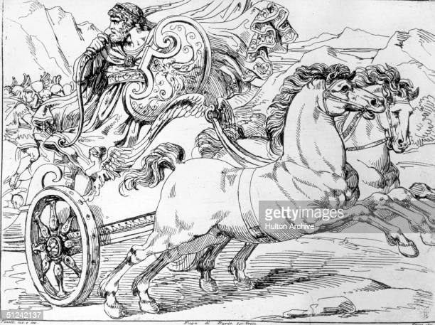 Circa 333 BC, Darius III, king of Persia, fleeing in a chariot after defeat at the hands of Alexander the Great's army. Original Artwork: Drawing by...