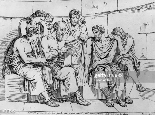 Circa 410 BC The Greek philosopher Socrates teaches his doctrines to the young Athenians whilst awaiting his execution Original Artwork An engraving...