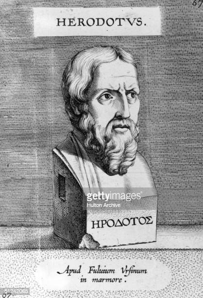 Circa 430 BC, A bust of the Greek historian Herodotus , 'the father of history'.