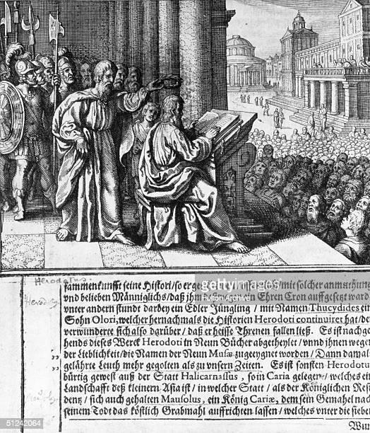 Circa 434 BC, A manuscript illustration of the Greek historian Herodotus .