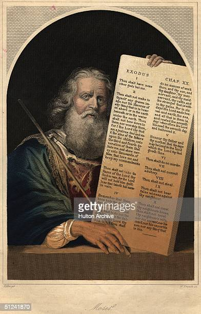 Circa 500 BC Moses with the Ten Commandments on Mount Sinai The Old Testament Hebrew leader of the Israelites he forced Egypt to free the Jews from...