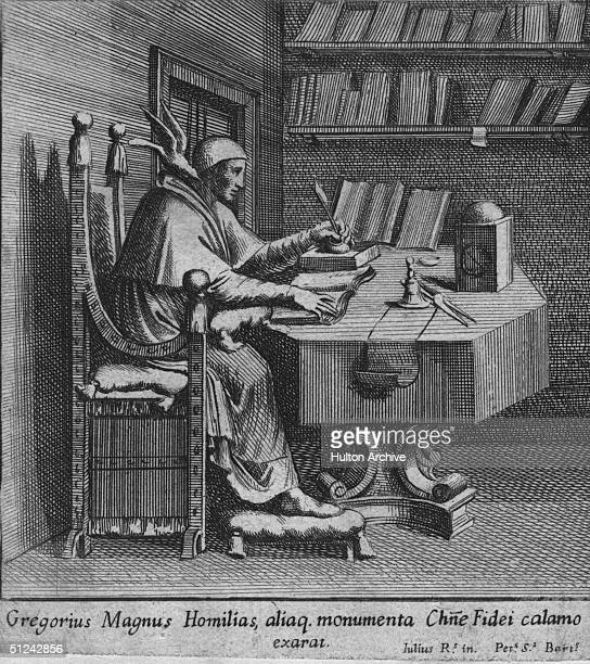 Circa 590 AD Gregory the Great Pope Gregory I who introduced Gregorian chant to the liturgy sitting at a desk writing with a bird on his shoulder