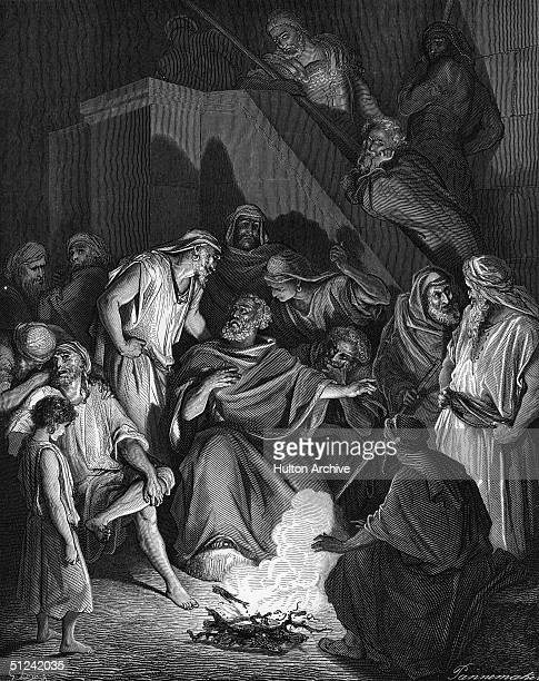 Circa 64 AD The apostle St Peter denies Christ Original Artwork Engraving after original work by Gustave Dore
