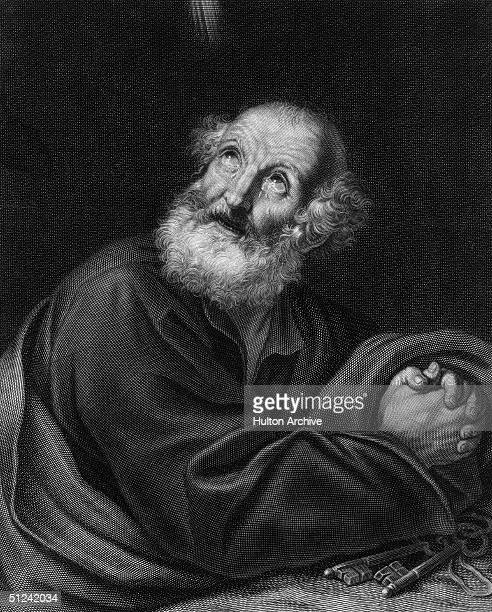 Circa 64 AD The tearstained apostle St Peter prays beside the keys of the Kingdom of Heaven with which he was entrusted