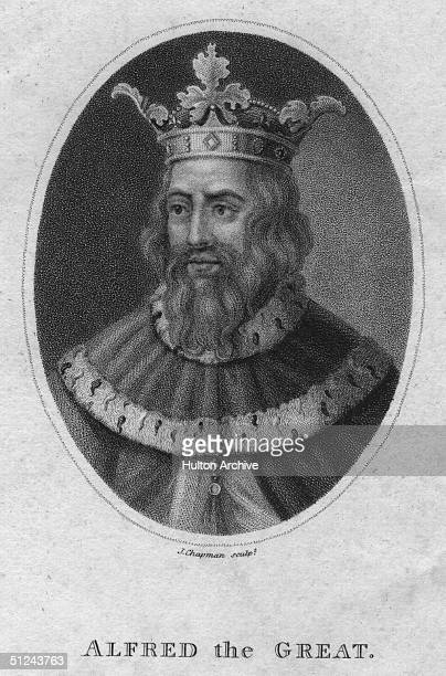 Circa 900 AD King Alfred the Great Original Artwork Engraving by J Chapman