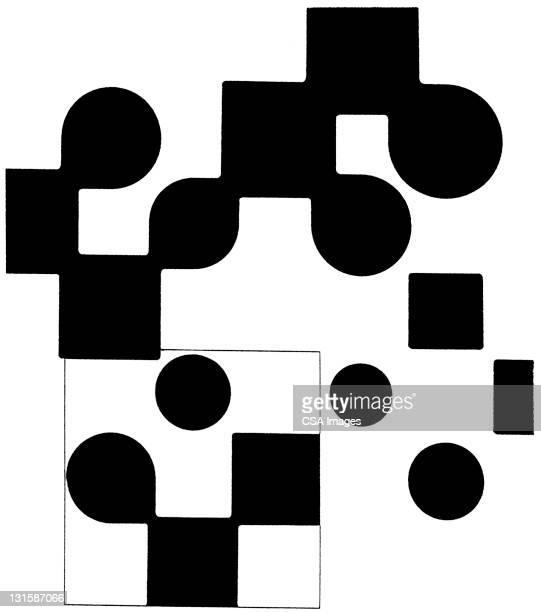 circle and square pattern - geometric stock illustrations
