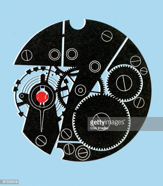circle machinery - time stock illustrations