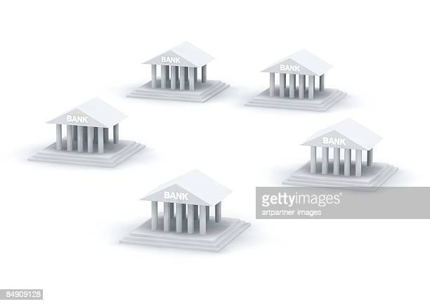 circle of bank buildings - pediment stock illustrations, clip art, cartoons, & icons