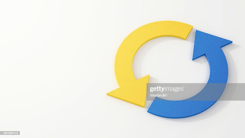 Circle Of Blue And Yellow Arrows Stock Illustration Getty Images