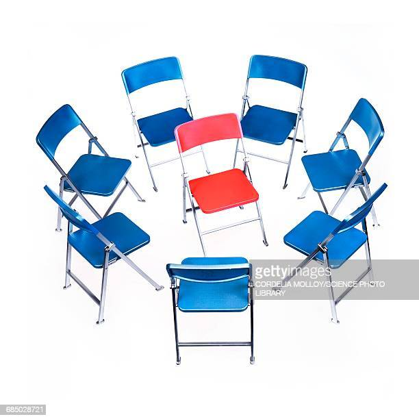 circle of chairs with one in the middle - surrounding stock illustrations, clip art, cartoons, & icons