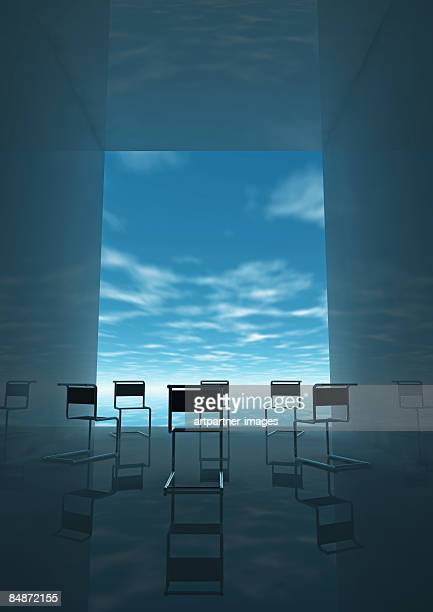 circle of empty chairs - meeting stock illustrations
