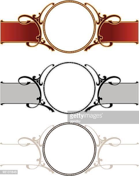 circle / scrolled panel design - scrollen stock illustrations