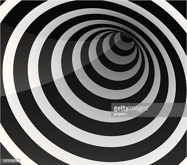 circle tunnel - optical illusion stock illustrations