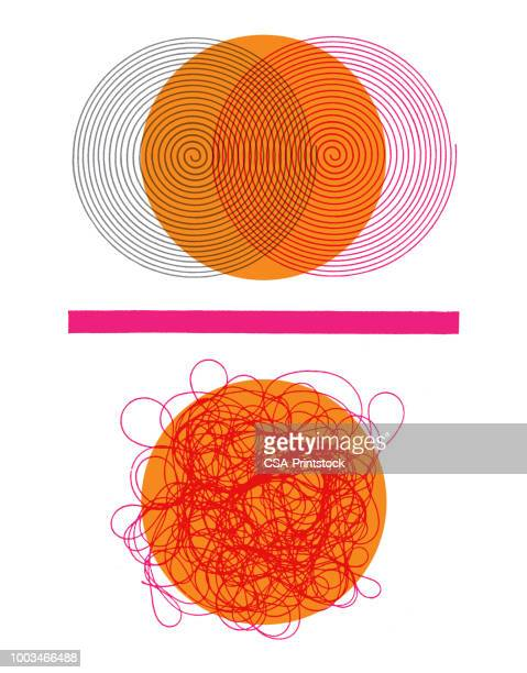 circles and squiggles - chaos stock illustrations