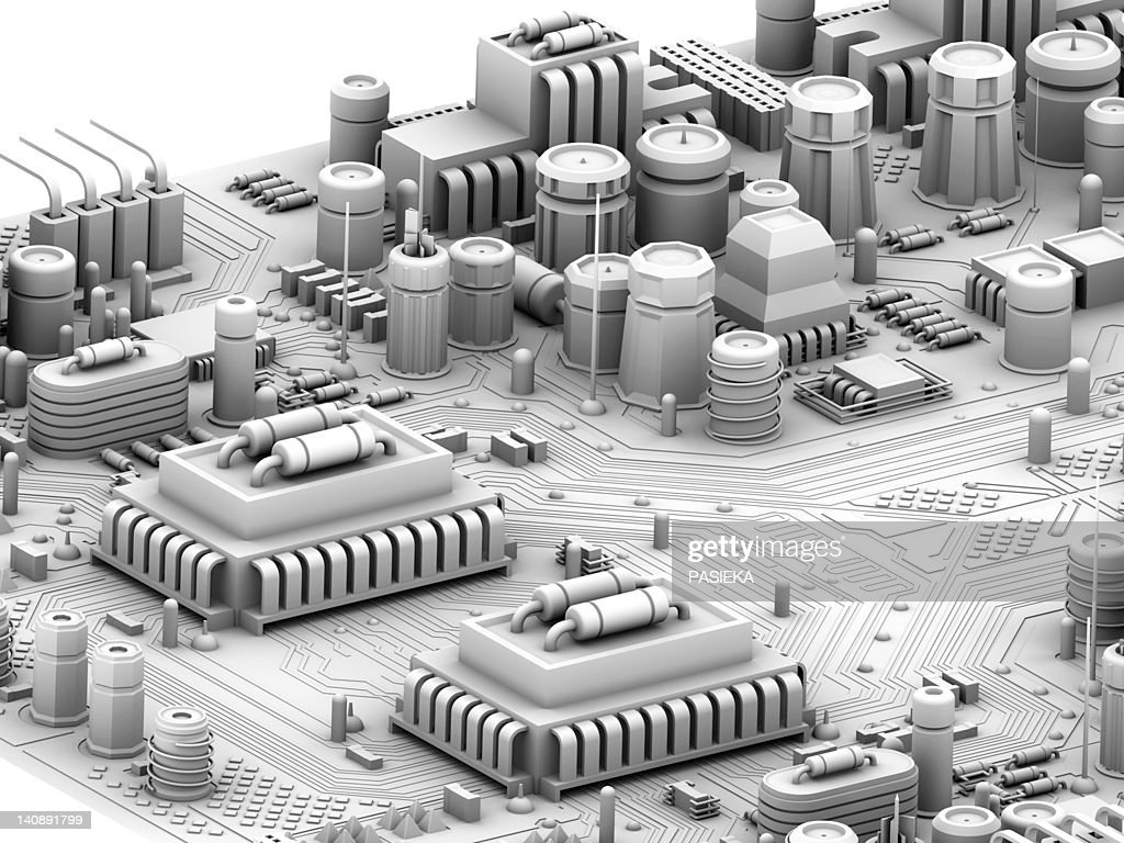 Motherboard Circuit Illustration: Circuit Board Artwork Stock Illustration