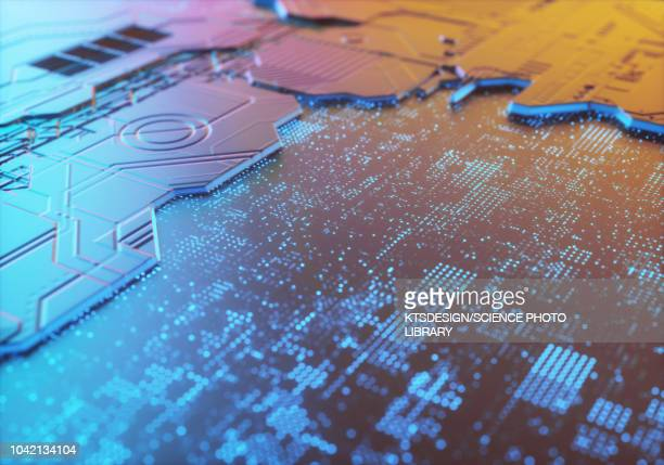 circuit board, illustration - digitally generated image stock illustrations