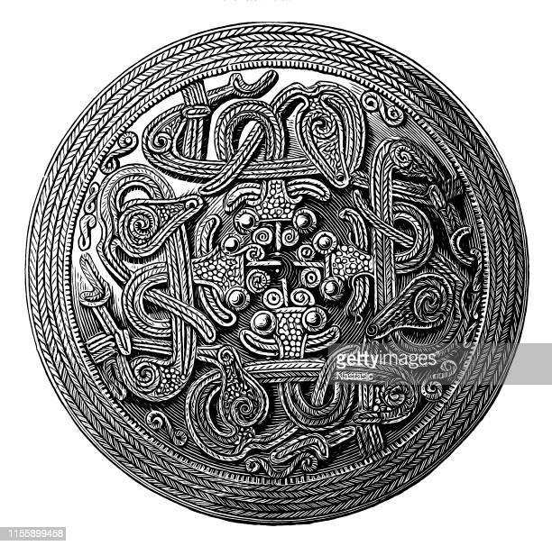 circular silver brooch for woman found in sweden - brooch stock illustrations
