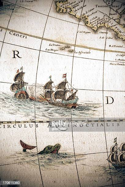 circulus aequinoctalis, historical map showing the equator and sailing ships - ancient stock illustrations