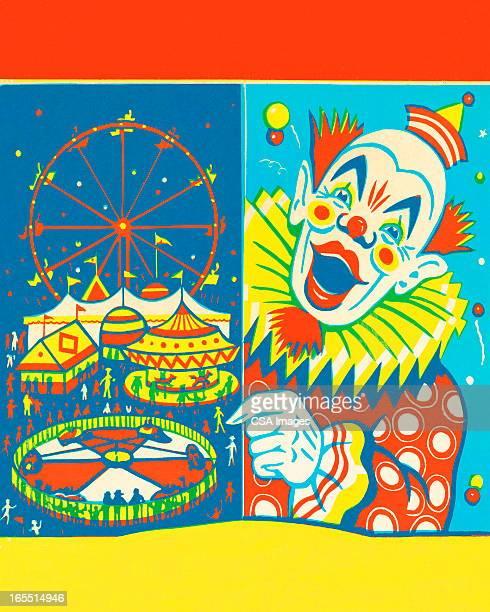 circus clown - agricultural fair stock illustrations, clip art, cartoons, & icons