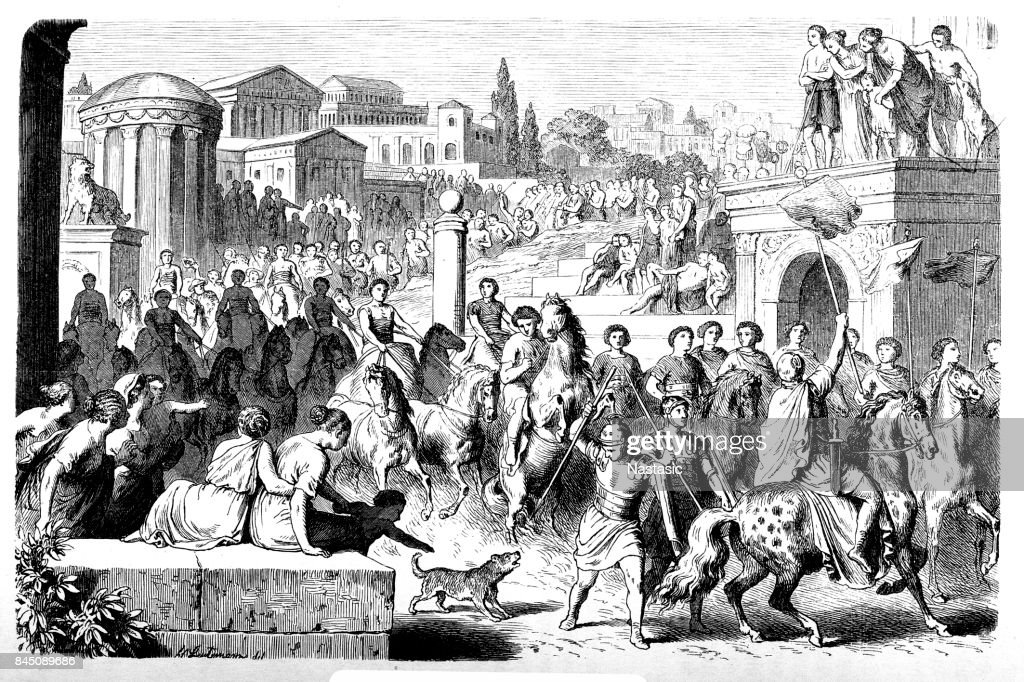 Circus for the feast of the Roman Games : stock illustration