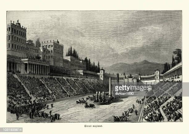 illustrazioni stock, clip art, cartoni animati e icone di tendenza di circus maximus, ancient roman chariot-racing stadium - circo massimo