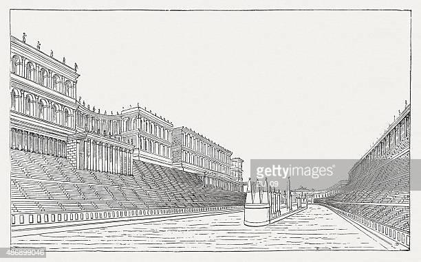 illustrazioni stock, clip art, cartoni animati e icone di tendenza di circo massimo dell'antica roma, pubblicata nel 1878 - circo massimo