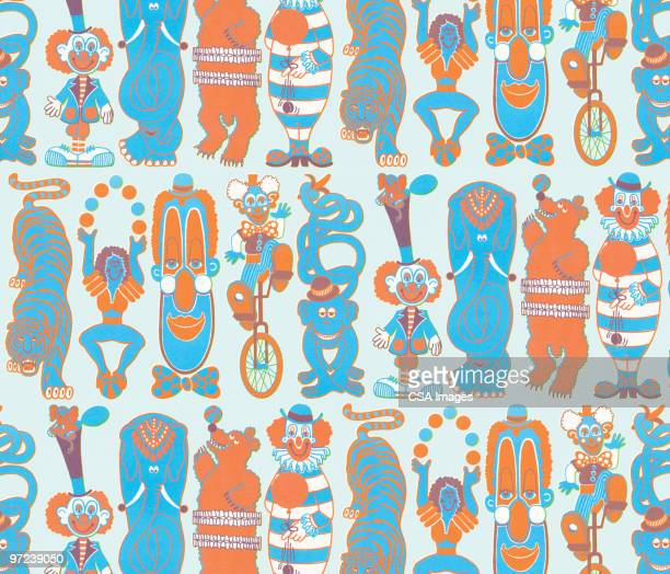 circus pattern - unicycle stock illustrations, clip art, cartoons, & icons