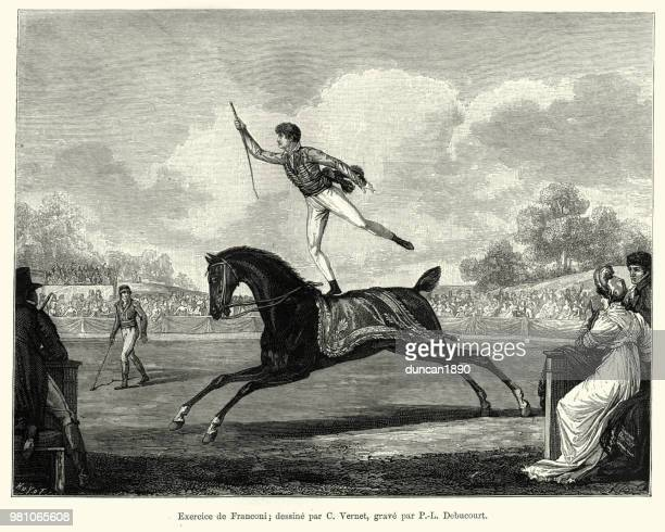 Circus performer standing on back moving horse, 19th Century