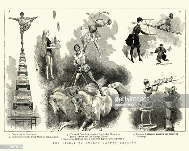 circus performers at covent garden theatre, victorian, 19th century - graphic print stock illustrations