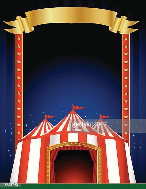 ilustraciones, imágenes clip art, dibujos animados e iconos de stock de circus póster de - carpa de circo