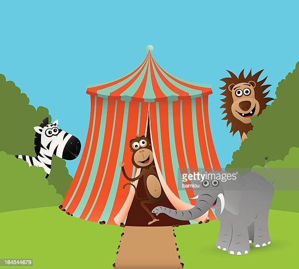 circus tent with animals - cartoon characters with big noses stock illustrations, clip art, cartoons, & icons