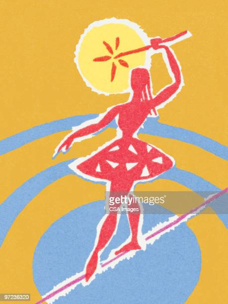 circus woman on tightrope - gymnastics stock illustrations, clip art, cartoons, & icons