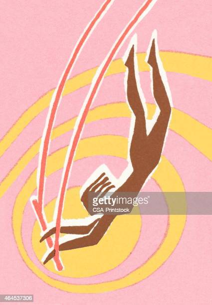 circus woman on trapeze - gymnastics stock illustrations, clip art, cartoons, & icons