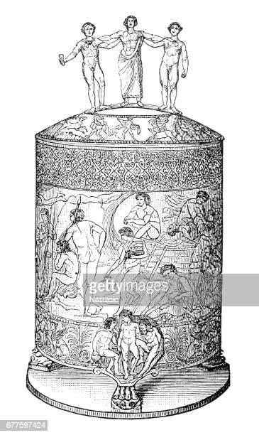 cista ficoroni (ritual vessel) - etruscan stock illustrations
