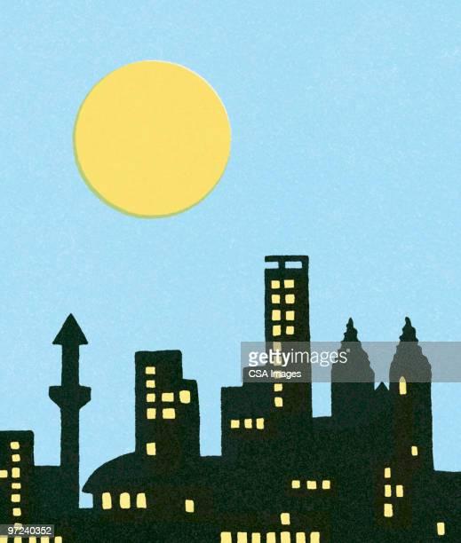 city at night - tall high stock illustrations