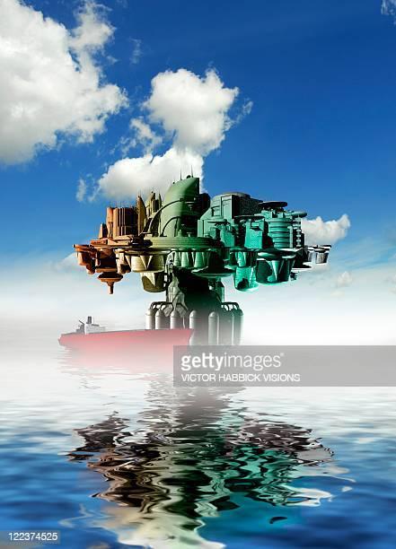City at sea, artwork