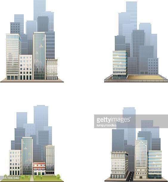 city block symbole - hauptstraße stock-grafiken, -clipart, -cartoons und -symbole