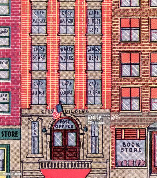 city building - national flag stock illustrations