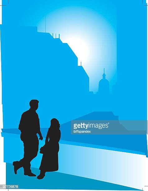 city couple silhouettes - vector - indianapolis stock illustrations, clip art, cartoons, & icons