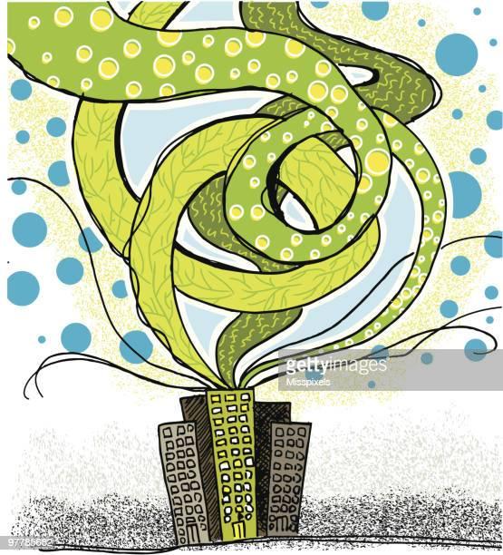 city going green - acid rain stock illustrations