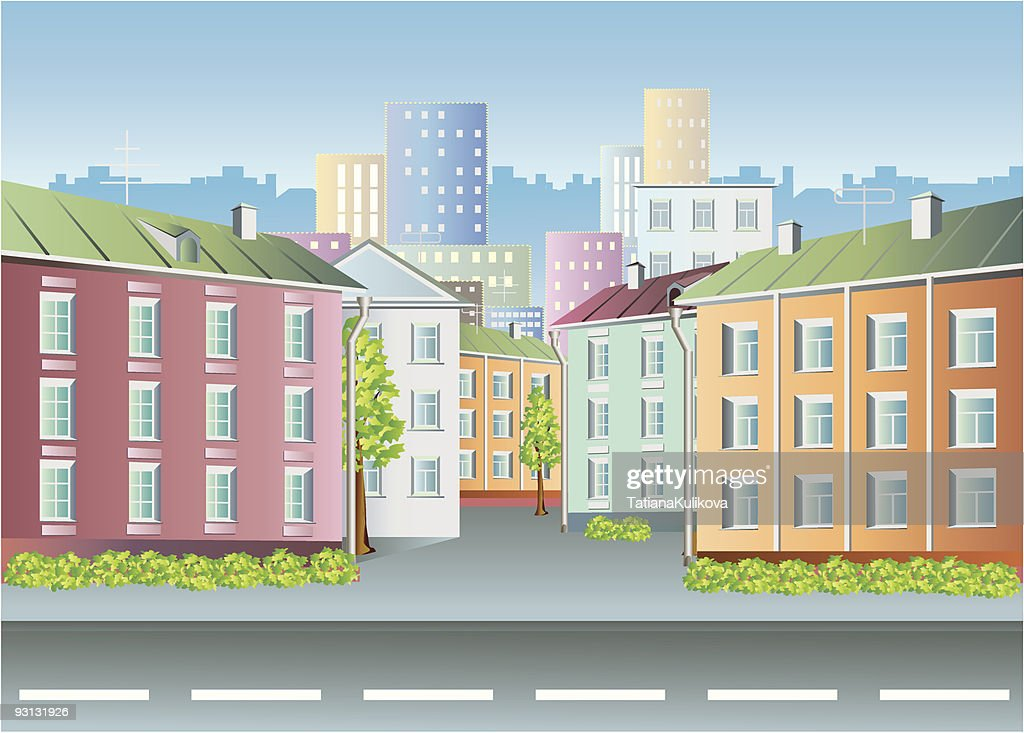 City houses vector.