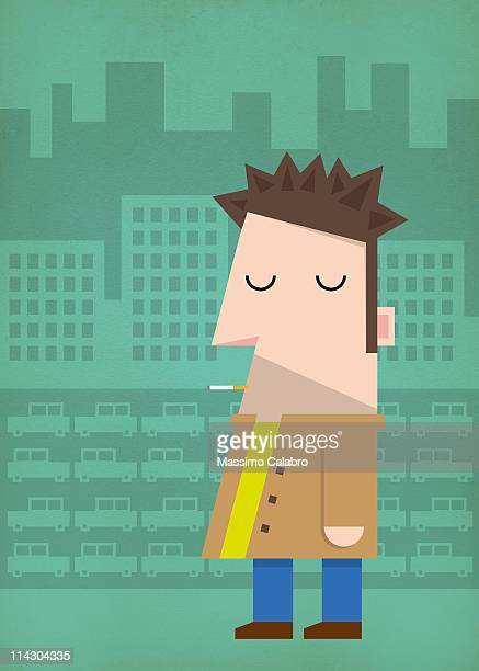 city - one man only stock illustrations