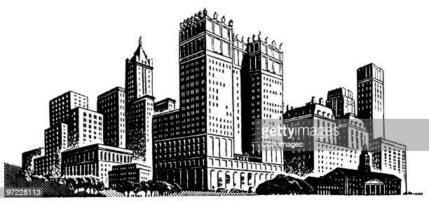 city - skyscraper stock illustrations