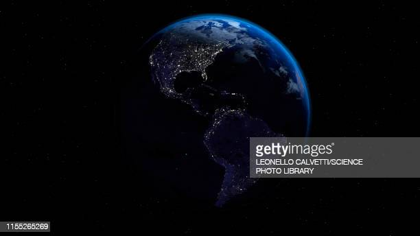 city lights on earth, illustration - north america stock illustrations