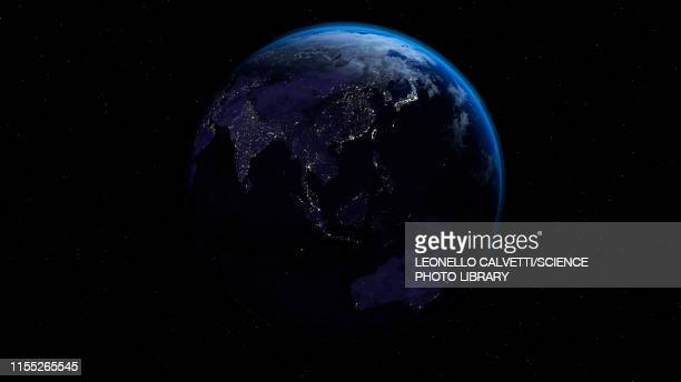 city lights on earth, illustration - planet space stock illustrations