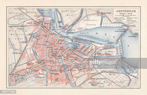 City map of Amsterdam, Netherlands, lithograph, published in 1897