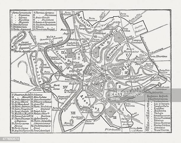 City map of ancient Rome, wood engraving, published in 1878