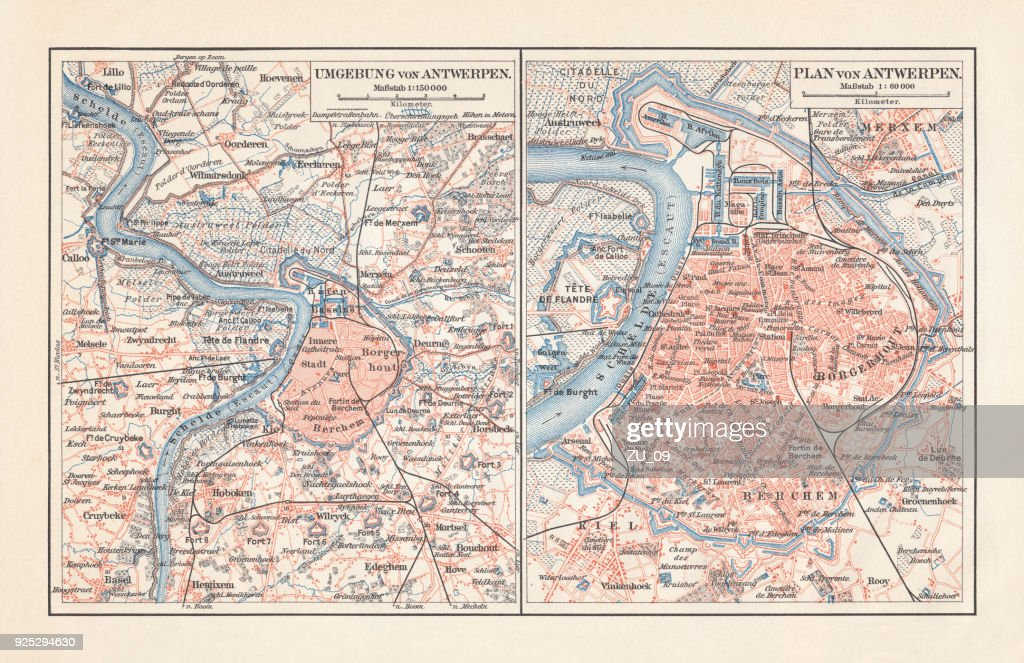 City Map Of Antwerp And Surrounding Belgium Lithograph Published