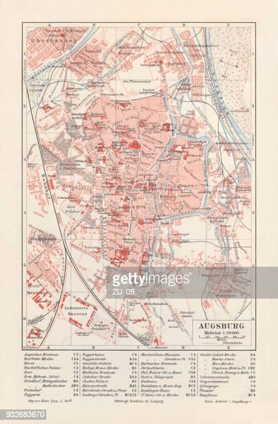 ilustrações de stock, clip art, desenhos animados e ícones de city map of augsburg, bavaria, germany, lithograph, published in 1897 - bairro antigo