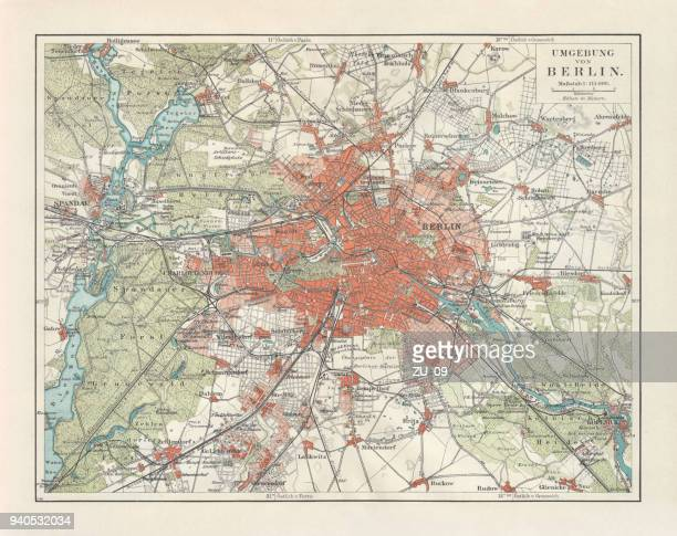 city map of berlin and surrounding, germany, lithograph, published 1897 - köpenick stock illustrations